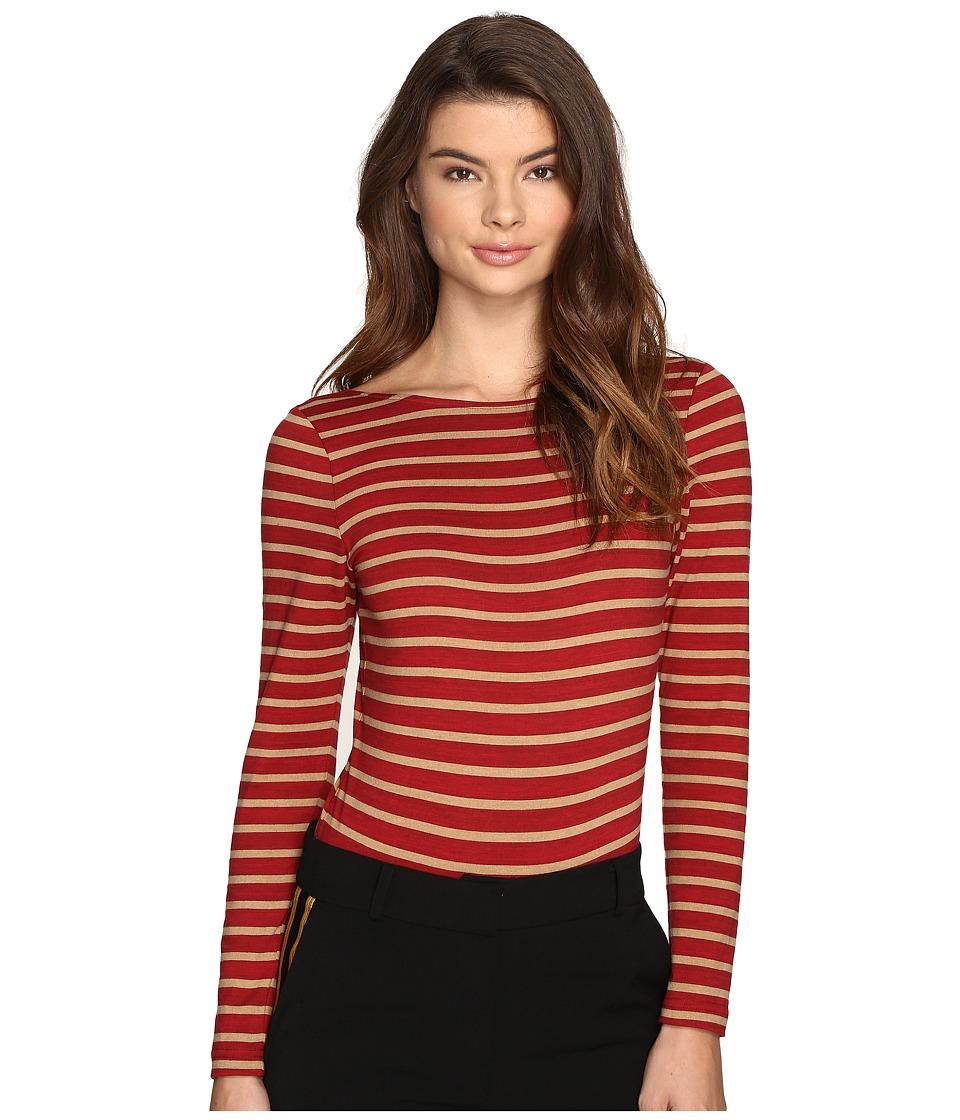 LAVEER - Striped Long Sleeve Scoop Bodysuit (Red) Women's Jumpsuit & Rompers One Piece