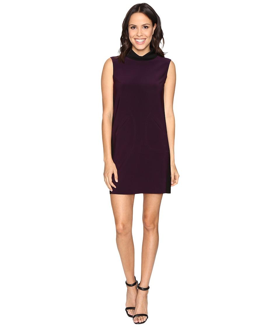 Tahari by ASL - Rollneck Scuba Shift (Plum Purple/Black) Women's Dress