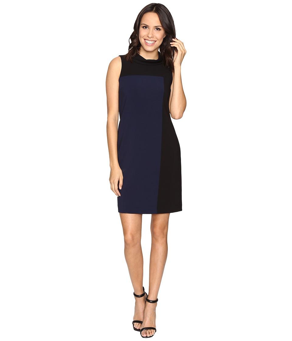 Tahari by ASL - Rollneck Mondrian Sheath (Black/Navy Blue) Women's Dress