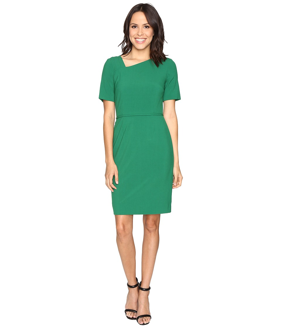 Tahari by ASL - Asymmetric Neckline Sheath (Emerald Green) Women's Dress