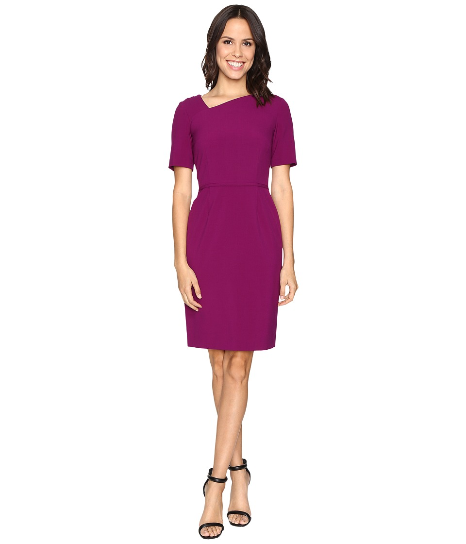 Tahari by ASL - Asymmetric Neckline Sheath (Currant Red) Women's Dress