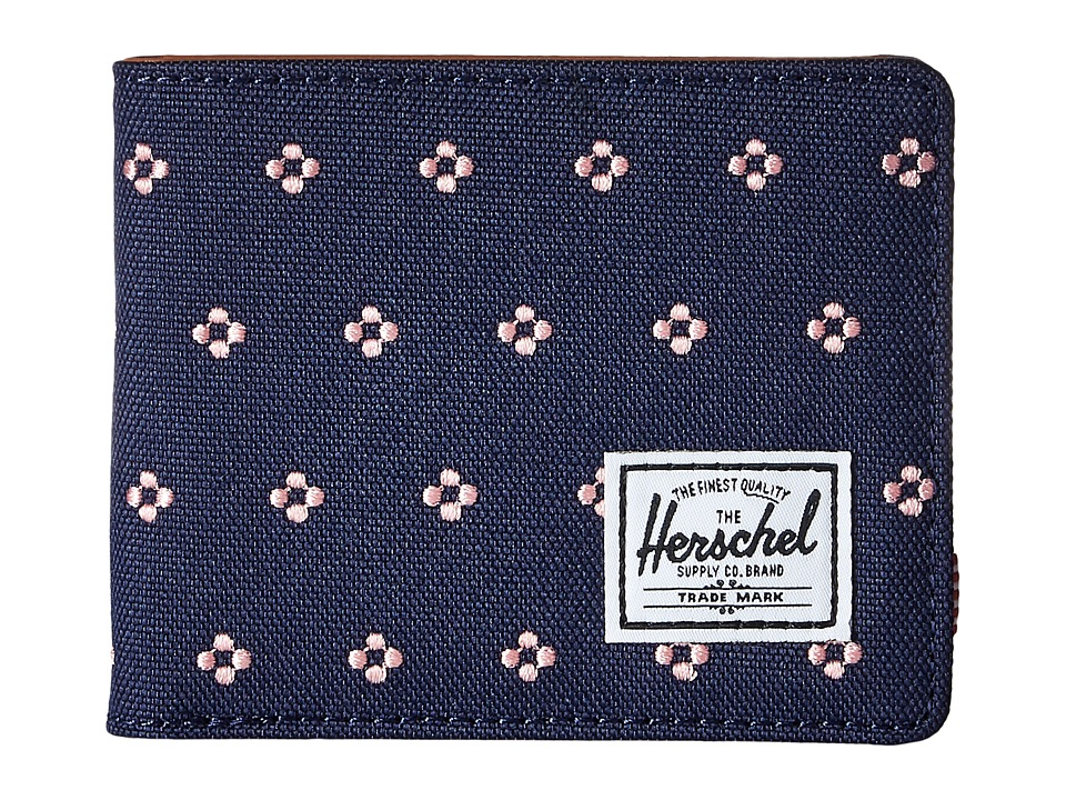 Herschel Supply Co. - Hank RFID (Peacoat/Apricot Blush Dots) Wallet Handbags