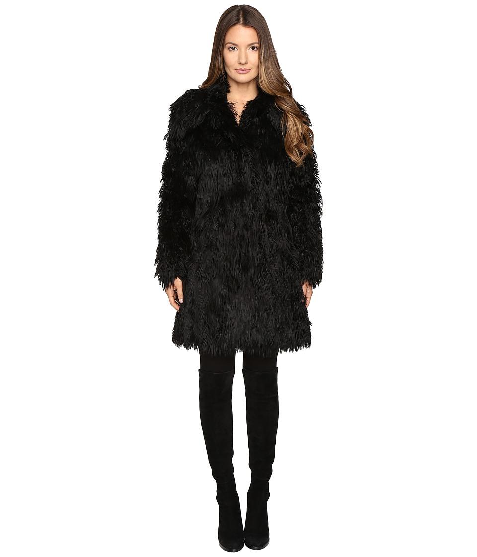 Jeremy Scott - Faux Mongolia Long Coat (Black) Women's Coat