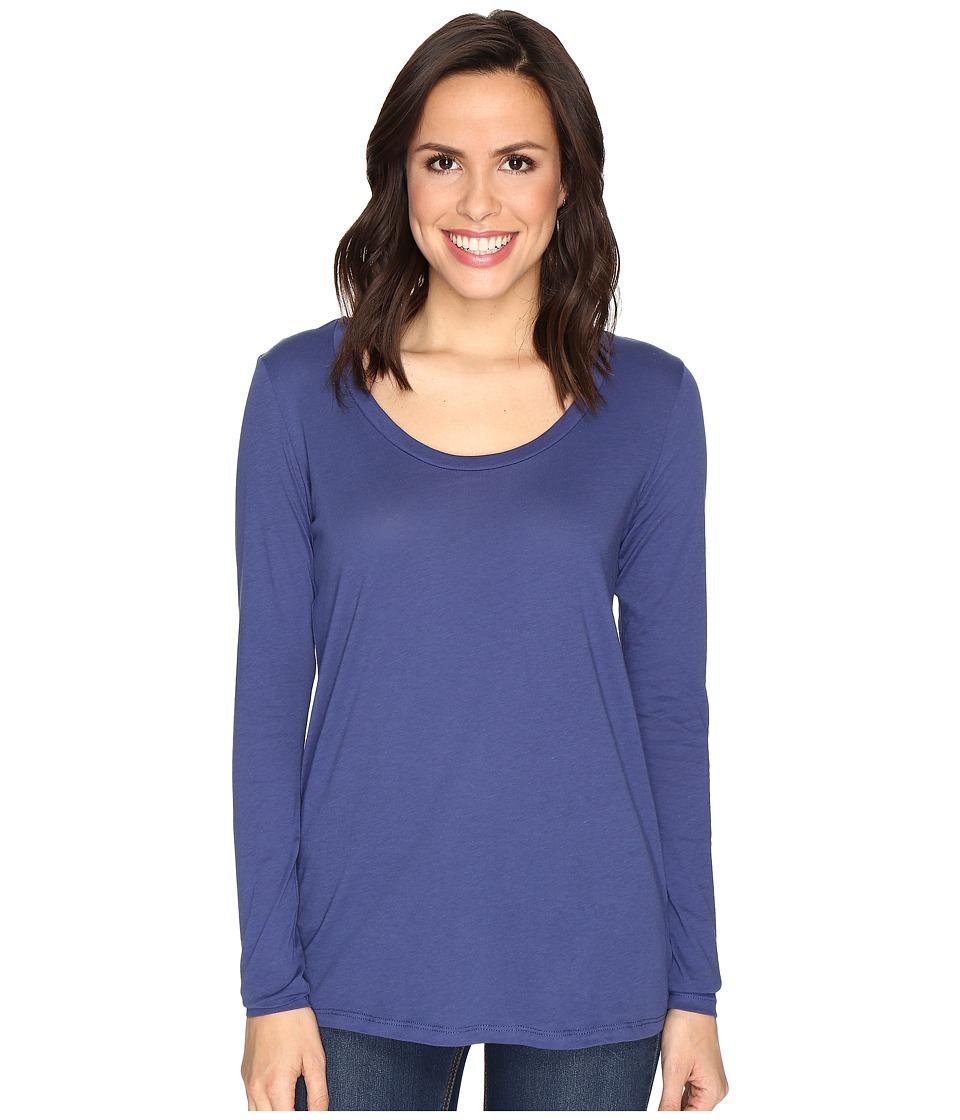 Alternative - The Charmer Satin Jersey Top (Navy) Women's Long Sleeve Pullover