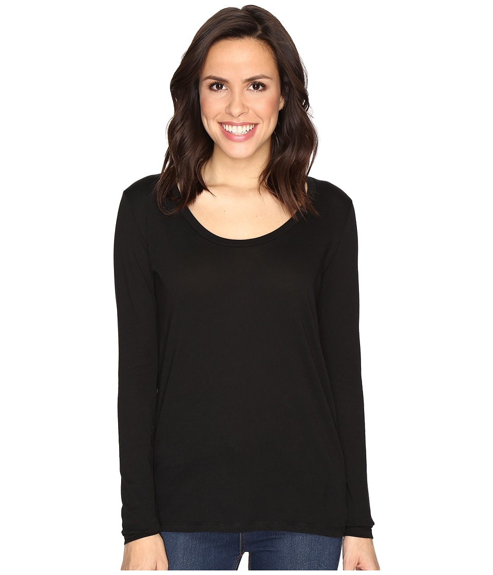 Alternative - The Charmer Satin Jersey Top (Black) Women's Long Sleeve Pullover