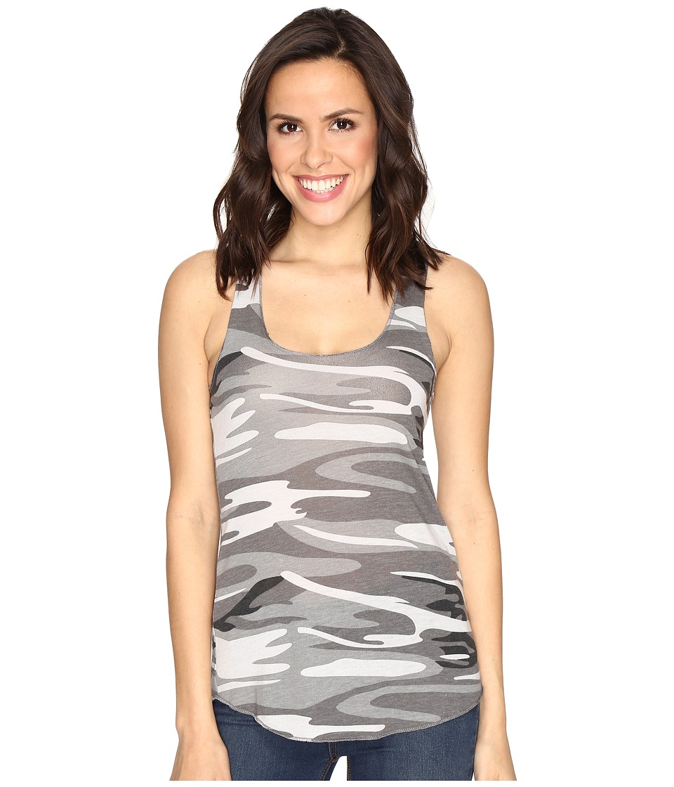 Alternative - Printed Meegs Racer Tank (Grey Camo) Women's Sleeveless