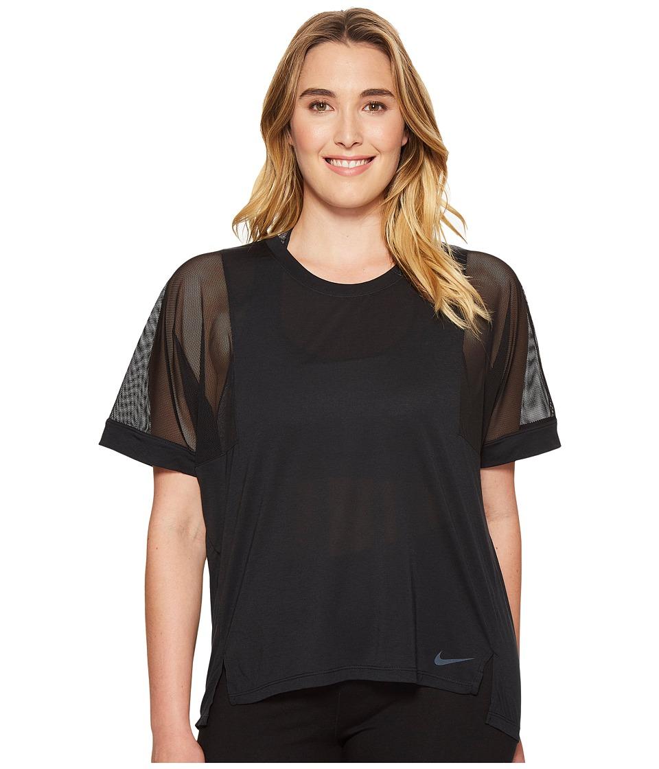 Nike - Breathe Training Top (Size 1X-3X) (Black/Black/White) Women's T Shirt