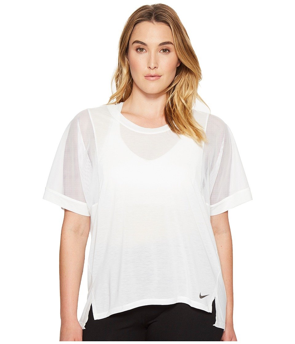 Nike - Breathe Training Top (Size 1X-3X) (White/White/Black) Women's T Shirt