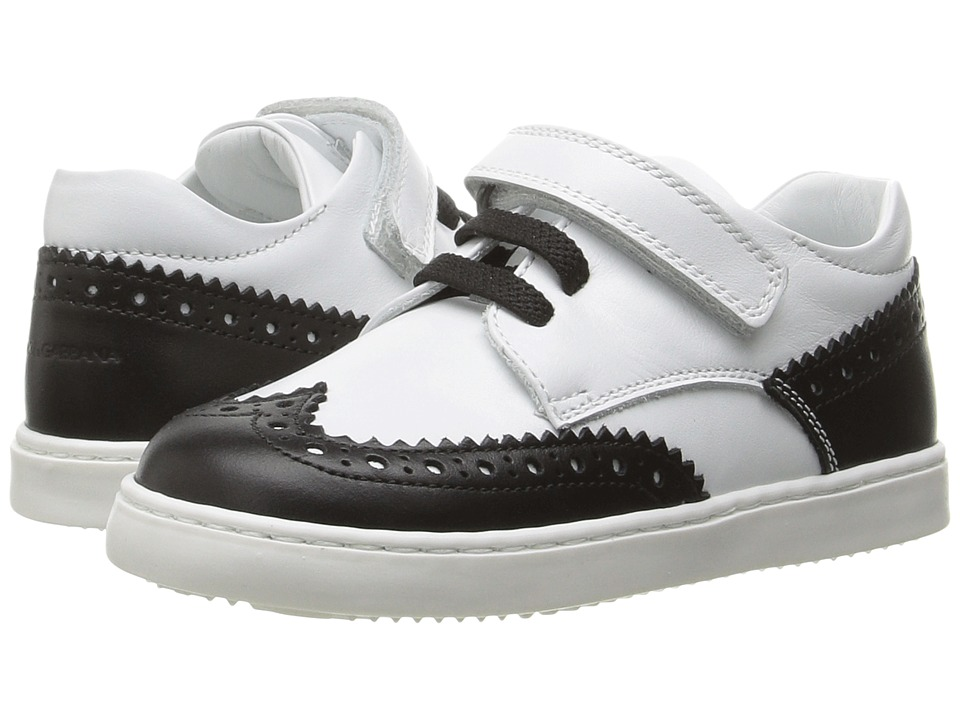 Dolce & Gabbana Kids - First Step Wingtip Sneaker (Toddler) (White/Black) Boys Shoes