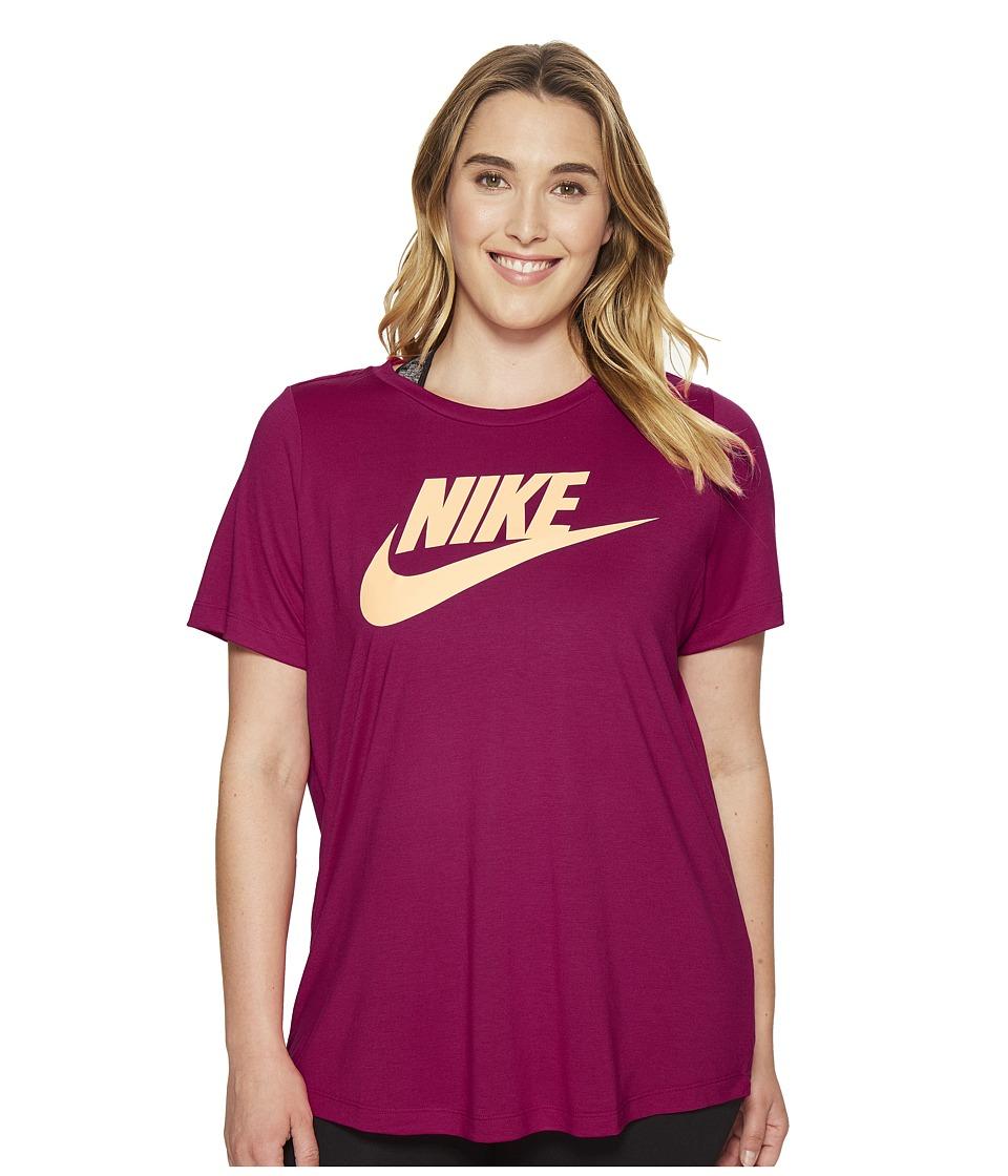 Nike - Sportswear Essential T-Shirt (Size 1X-3X) (Sport Fuchsia/Melon Tint) Women's T Shirt
