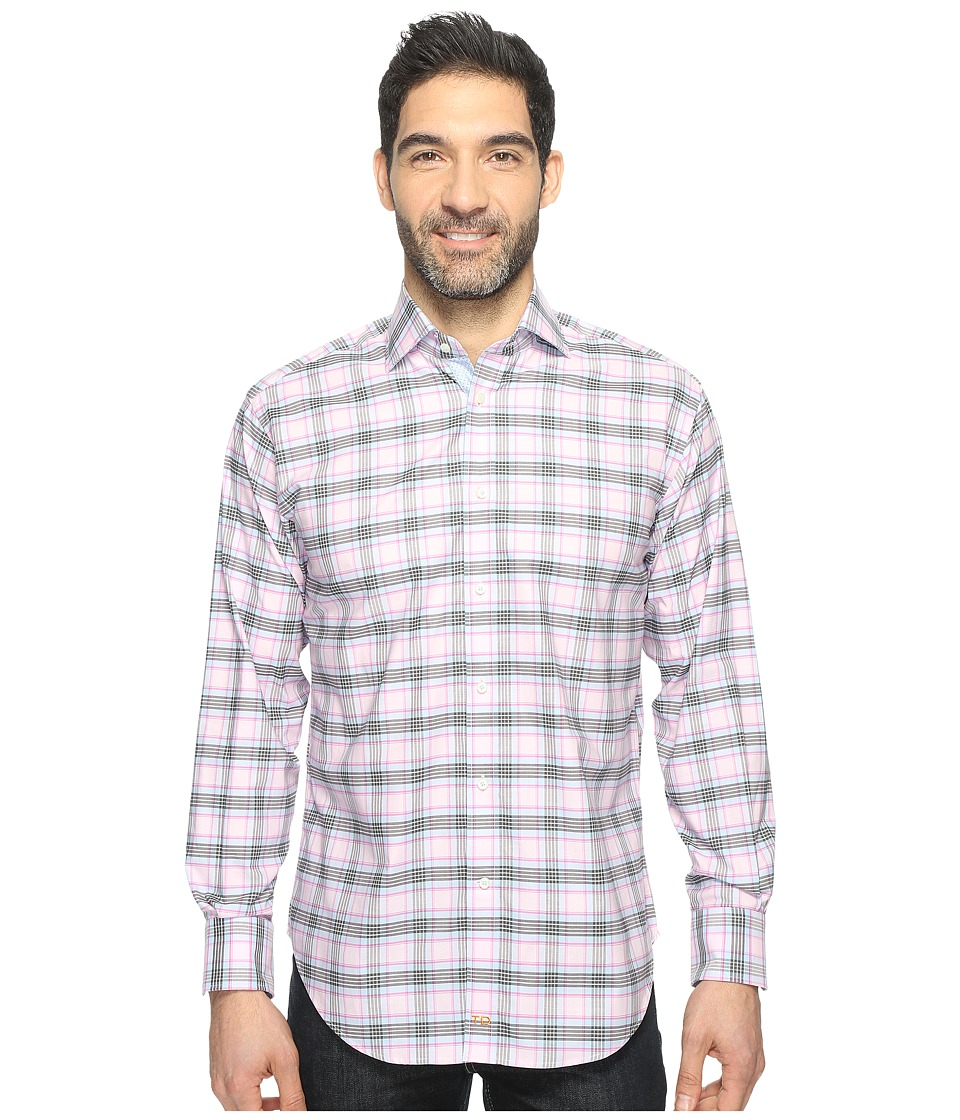Thomas Dean & Co. - Long Sleeve Twill Plaid Sport Shirt (Pink) Men's Clothing