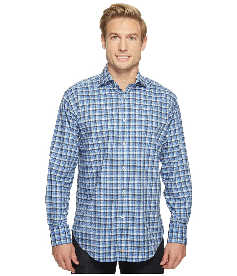 Thomas Dean & Co. - Long Sleeve Shadow Check Sport Shirt (Blue) Men's Clothing