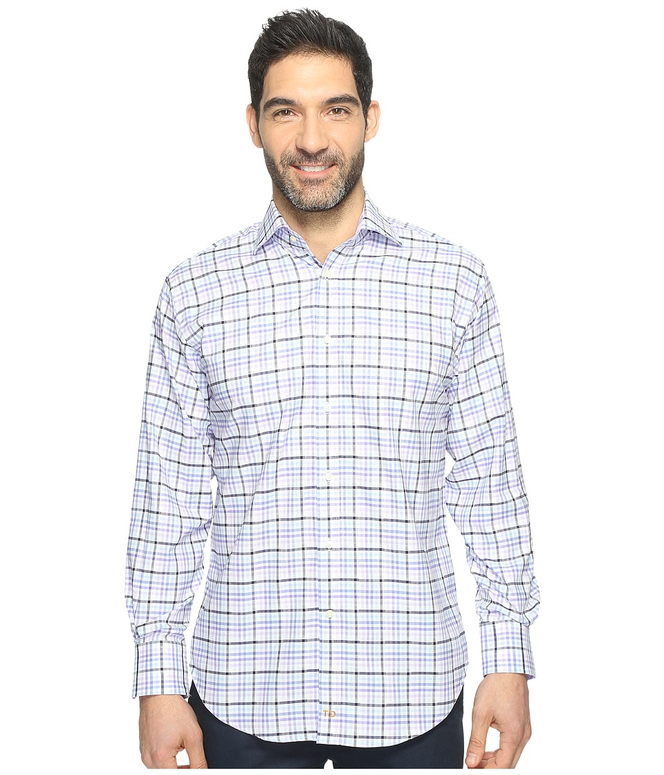 Thomas Dean & Co. - Long Sleeve Dobby Check Sport Shirt (Purple) Men's Clothing