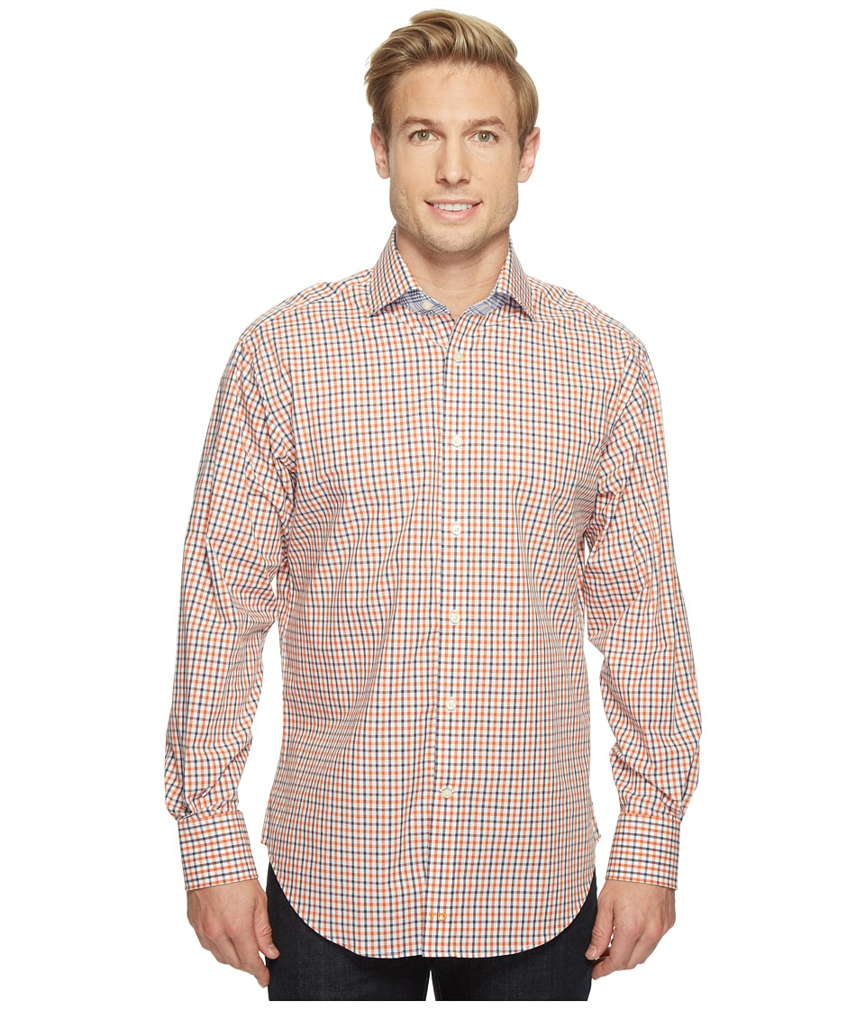 Thomas Dean & Co. - Long Sleeve Textured Check Sport Shirt (Orange) Men's Clothing