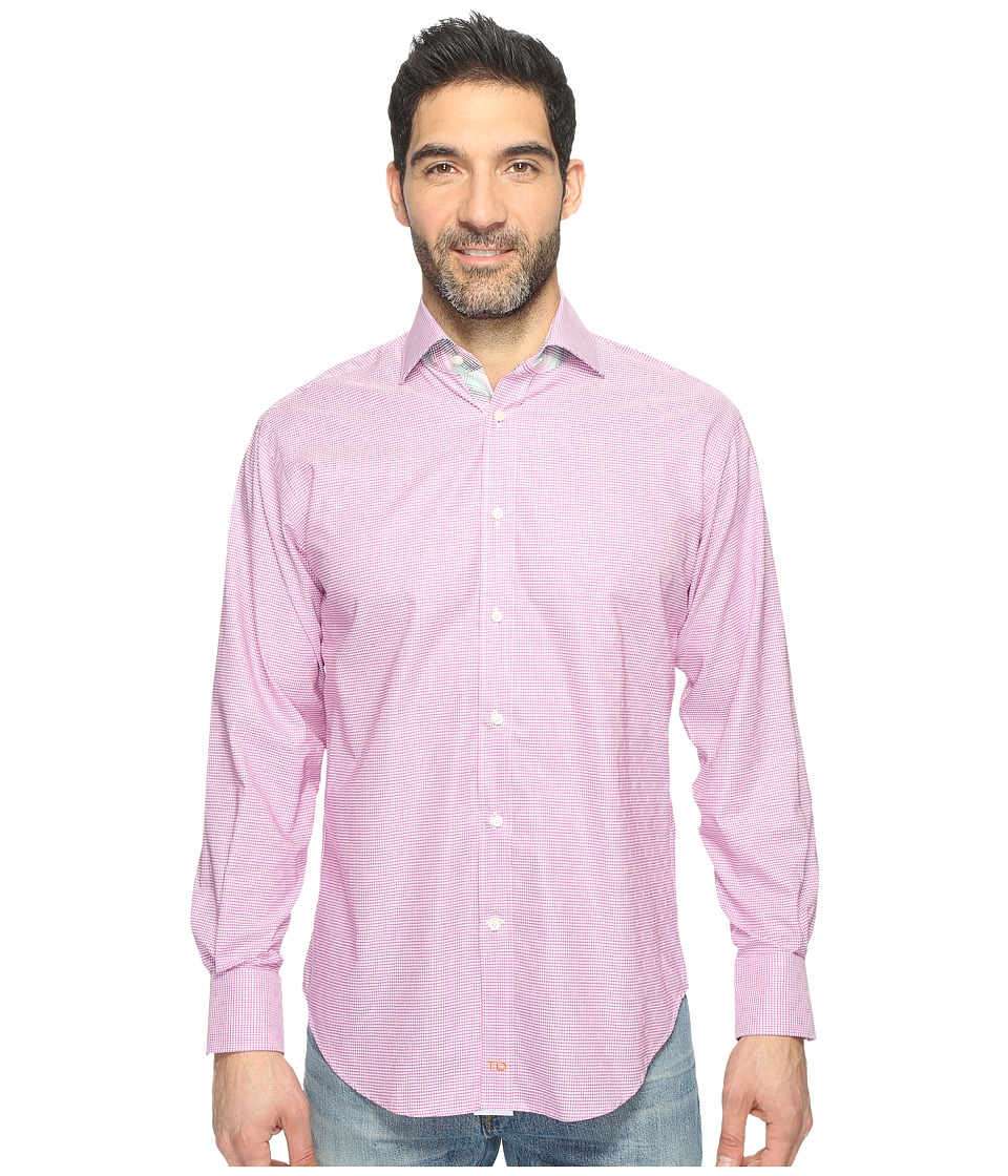 Thomas Dean & Co. - Long Sleeve Poplin Check Sport Shirt (Pink) Men's Clothing