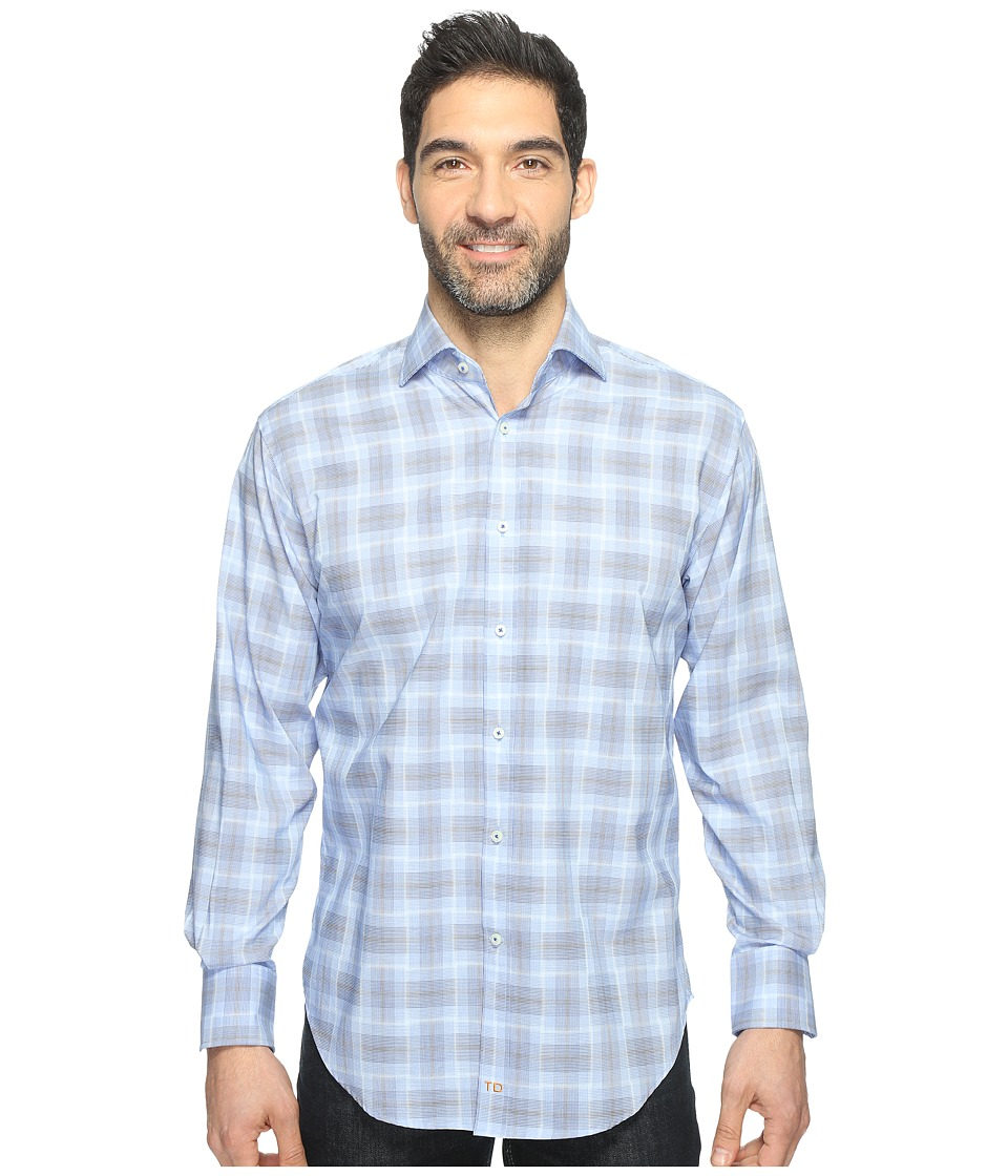Thomas Dean & Co. - Long Sleeve Plaid Sport Shirt (Blue) Men's Clothing