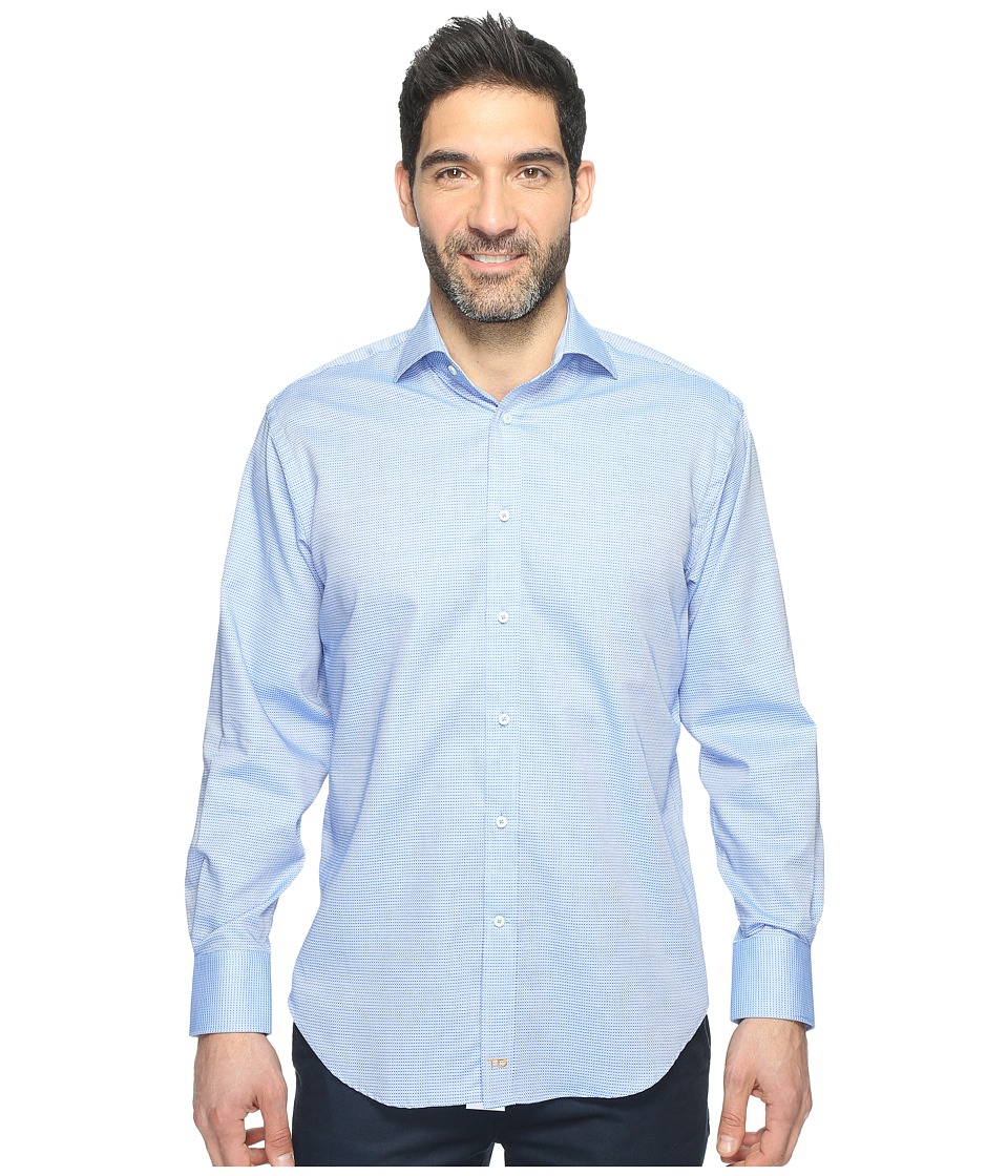 Thomas Dean & Co. - Long Sleeve Textured Mini Check Sport Shirt (Blue) Men's Clothing
