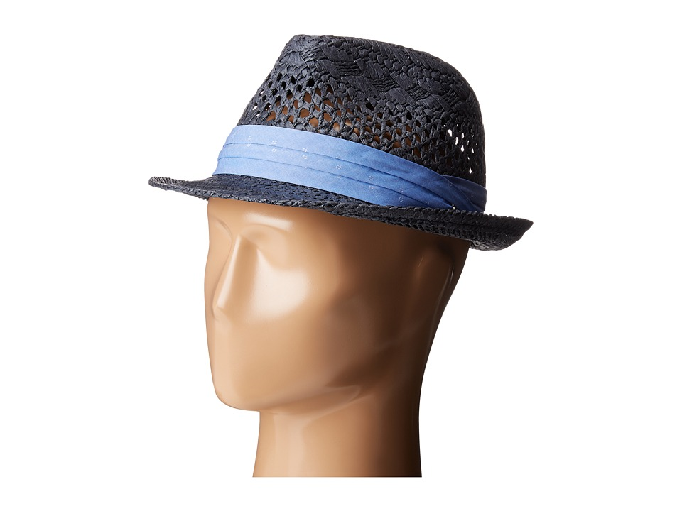Original Penguin - Vented Straw Fedora (Dark Denim) Fedora Hats