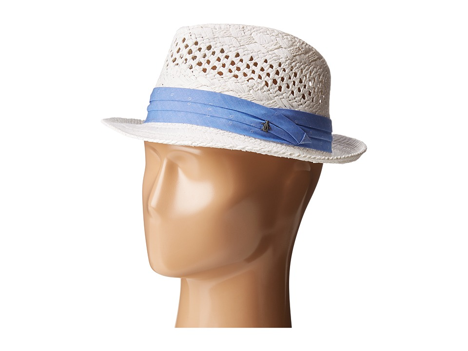 Original Penguin - Vented Straw Fedora (White) Fedora Hats