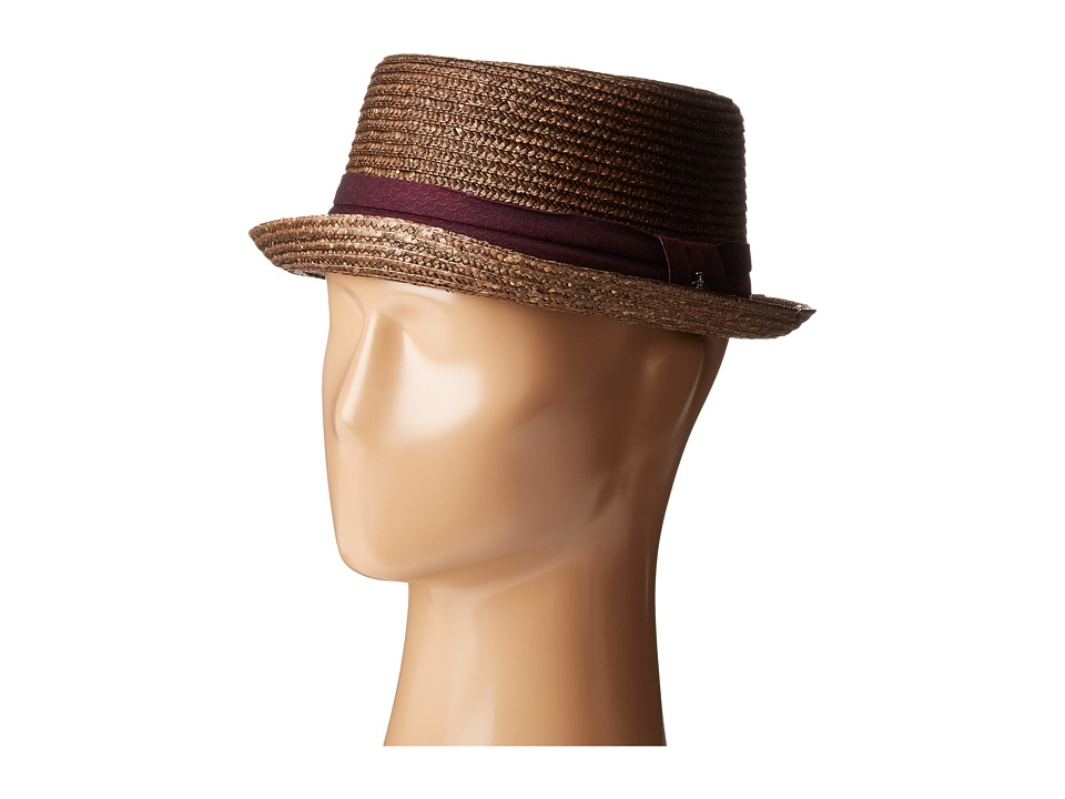 Original Penguin - Round Top Straw Porkpie (Brown) Caps