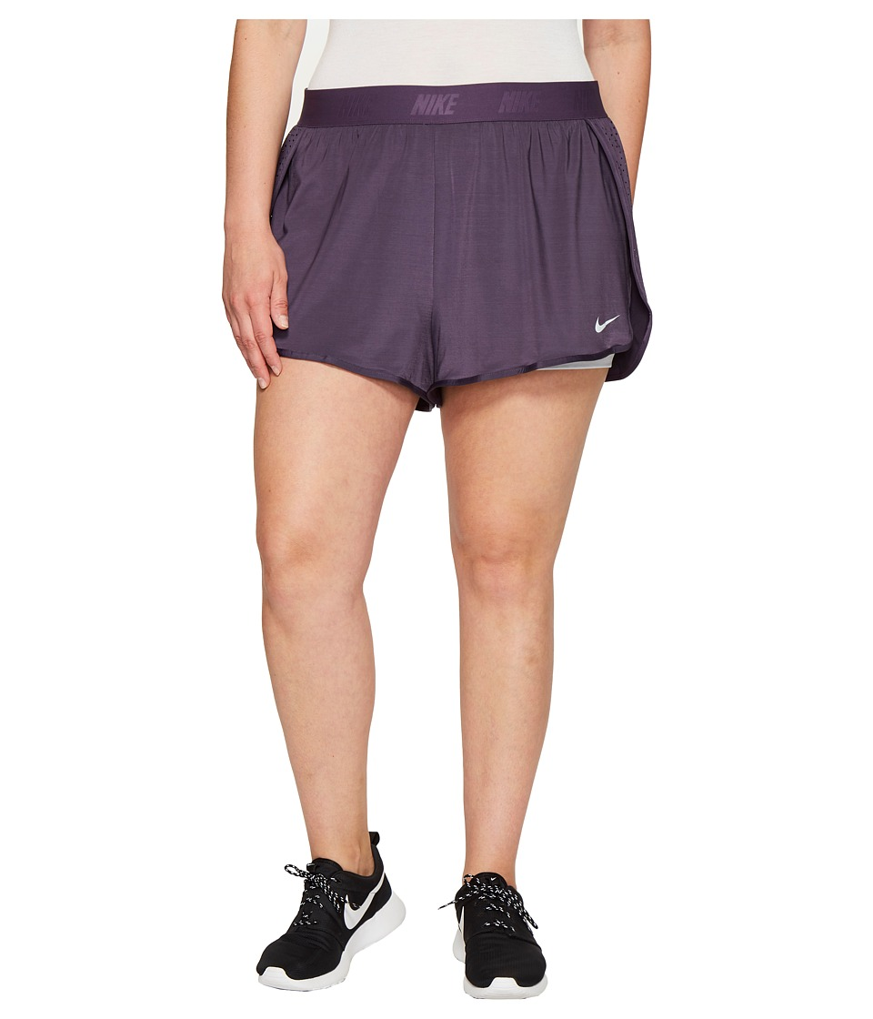Nike Dry Training Short (Size 1X-3X) (Dark Raisin/Pure Platinum/Pure Platinum) Women