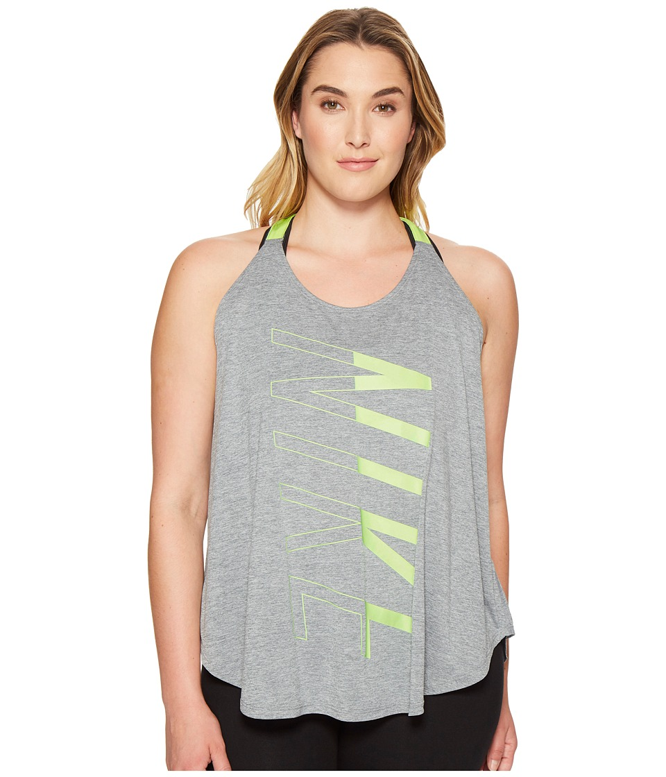 Nike - Breathe Training Tank (Size 1X-3X) (Cool Grey/Heather/Ghost Green) Women's Sleeveless