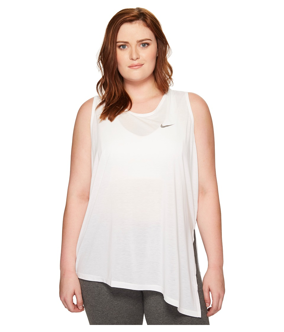 Nike - Breathe Sleeveless Training Top (Size 1X-3X) (White/Black) Women's Sleeveless