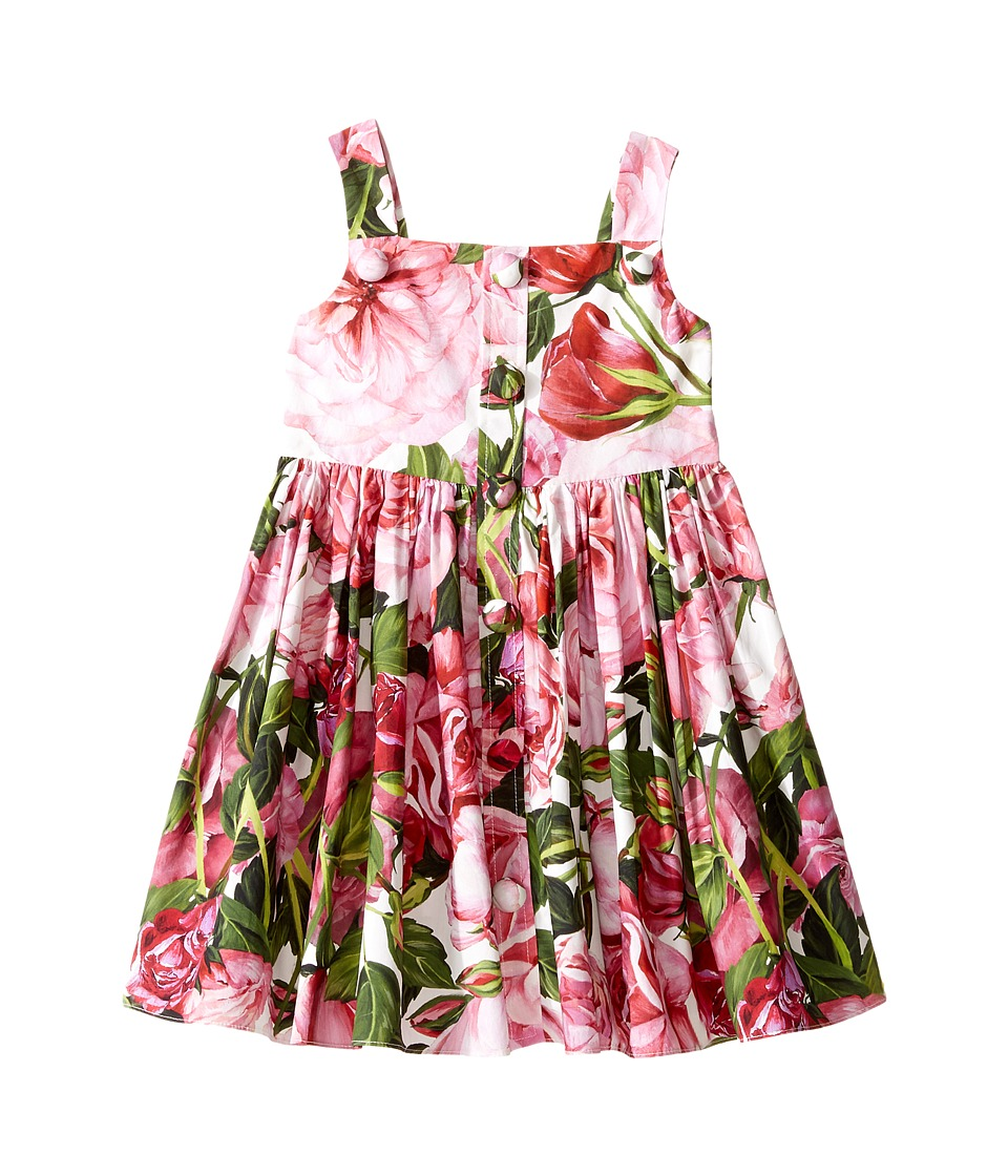 Dolce & Gabbana Kids - Rose Poplin Pleated Dress (Toddler/Little Kids) (Rose Print) Girl's Dress