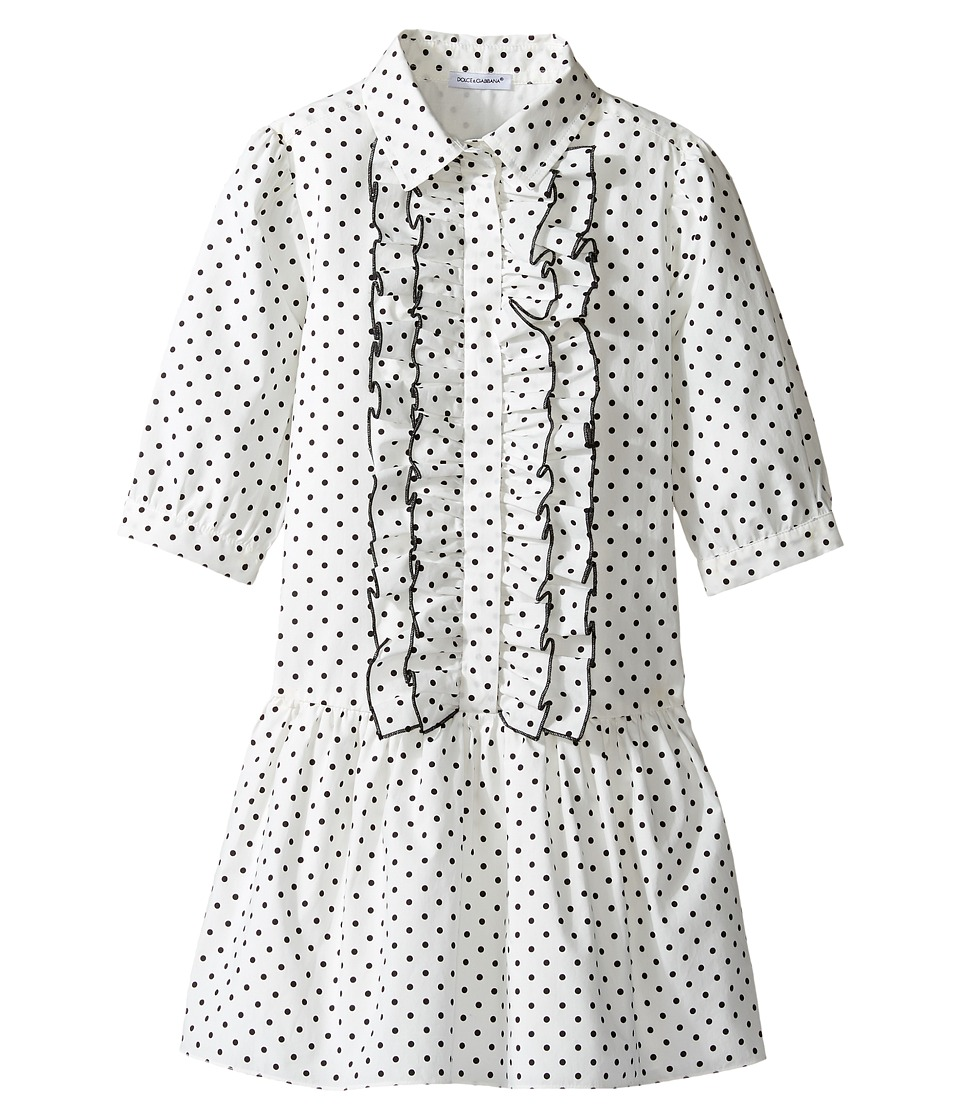 Dolce & Gabbana Kids - Tropical City Long Sleeve Dress (Toddler/Little Kids) (Dot Print) Girl's Dress