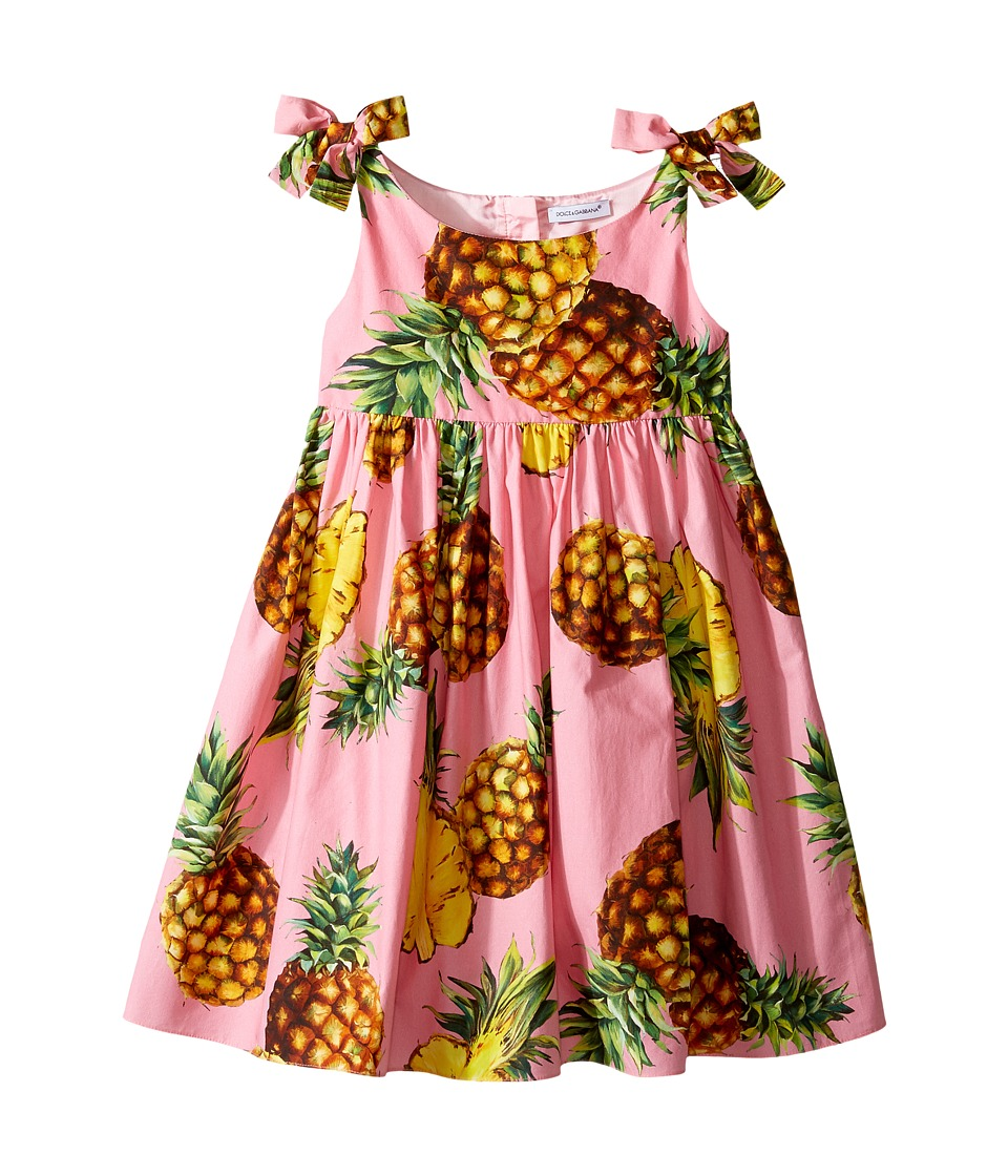 Dolce & Gabbana Kids - Tropical City Poplin Dress (Toddler/Little Kids) (Pineapple Print) Girl's Dress