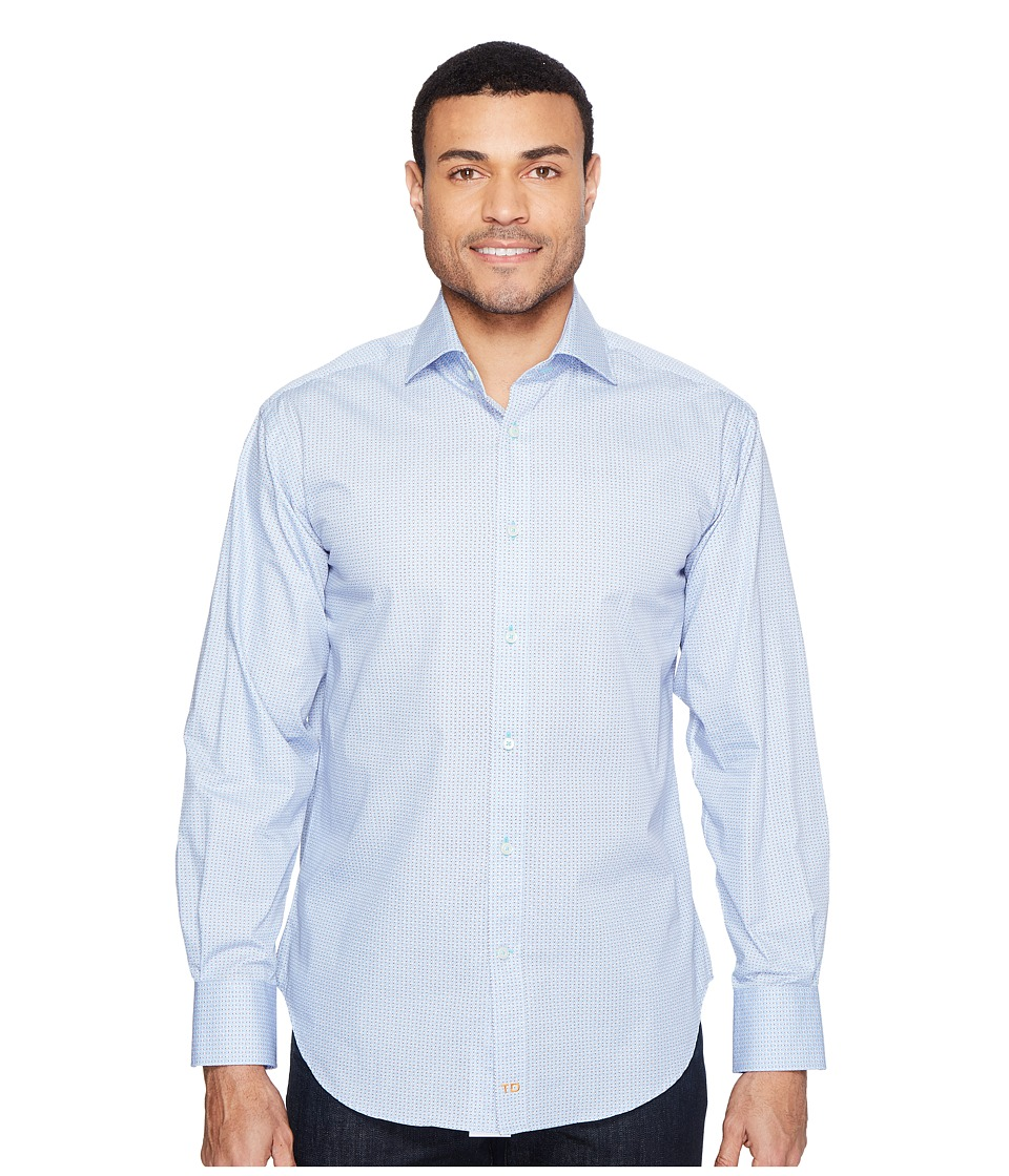 Thomas Dean & Co. - Long Sleeve Poplin Print Sport Shirt (Light Blue) Men's Clothing