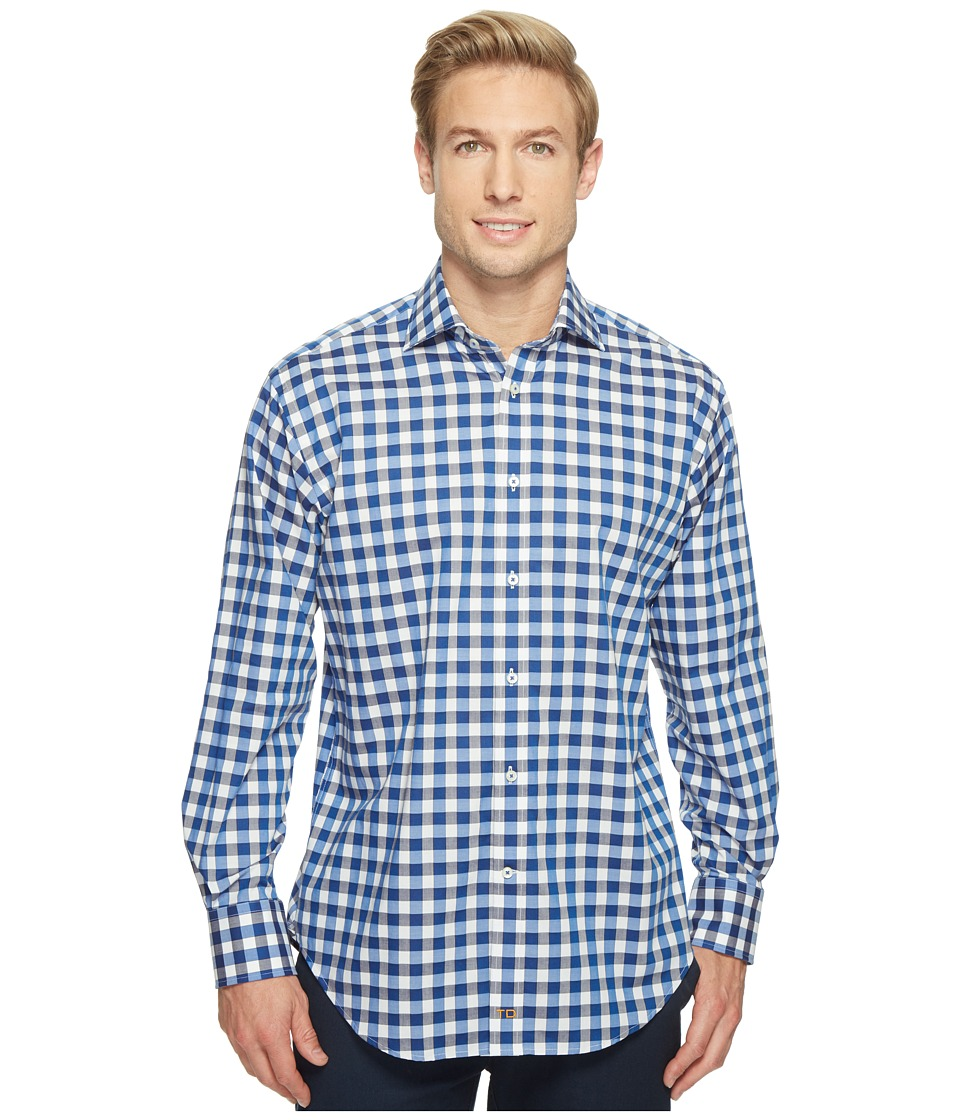 Thomas Dean & Co. - Long Sleeve Large Bold Check Sport Shirt (Cobalt) Men's Clothing