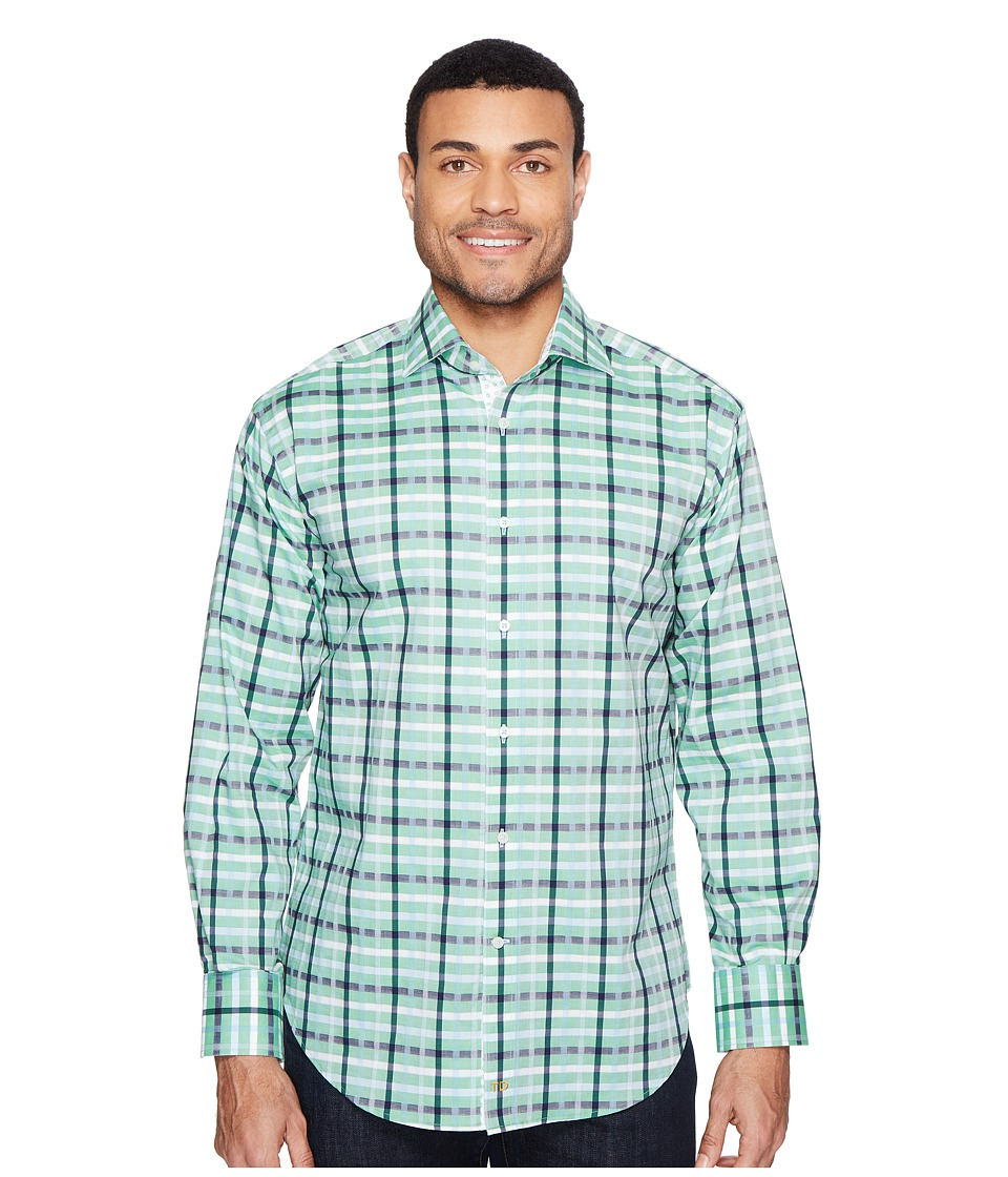 Thomas Dean & Co. - Long Sleeve Large Dobby Check Sport Shirt (Green) Men's Clothing