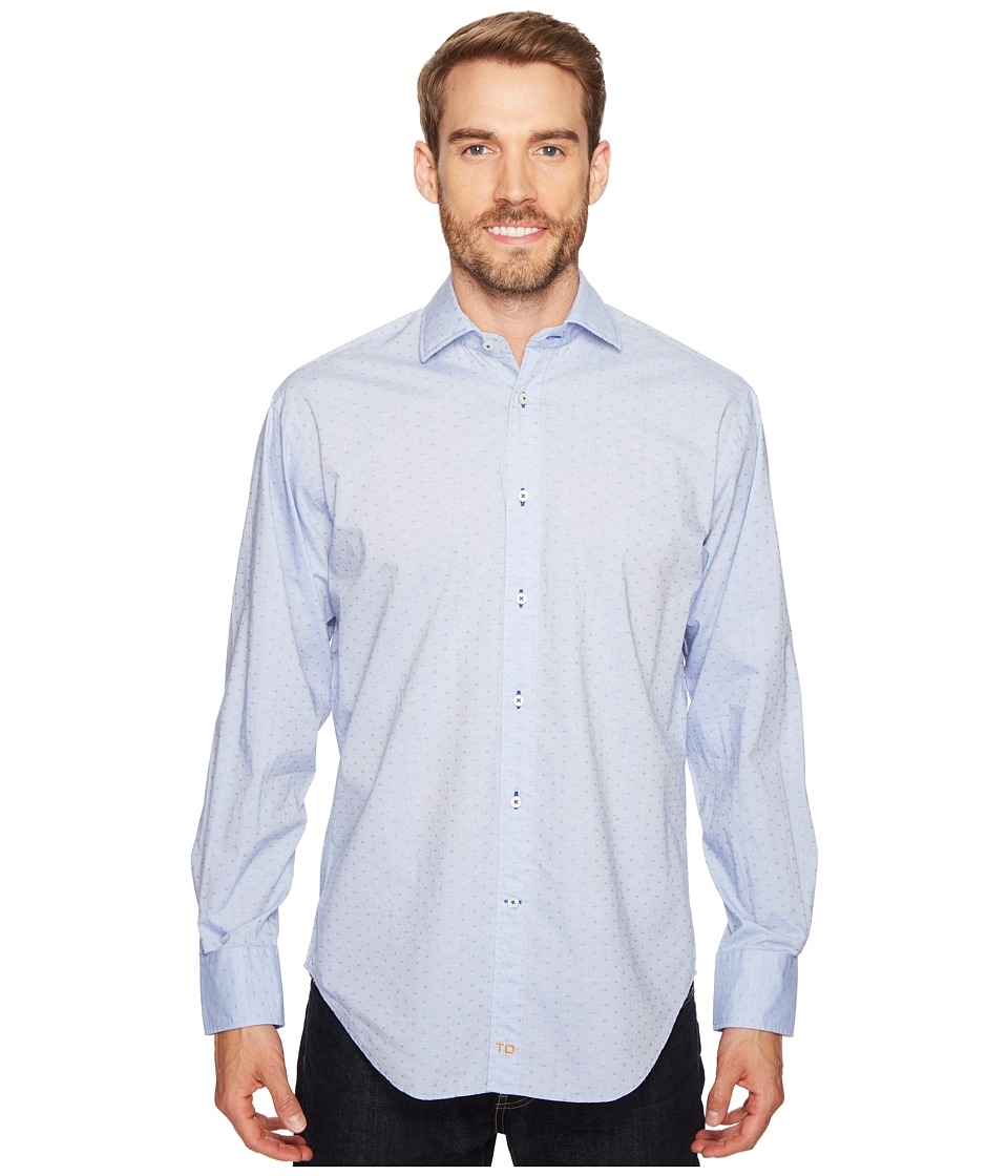 Thomas Dean & Co. - Long Sleeve Textured Solid Sport Shirt (Blue) Men's Clothing