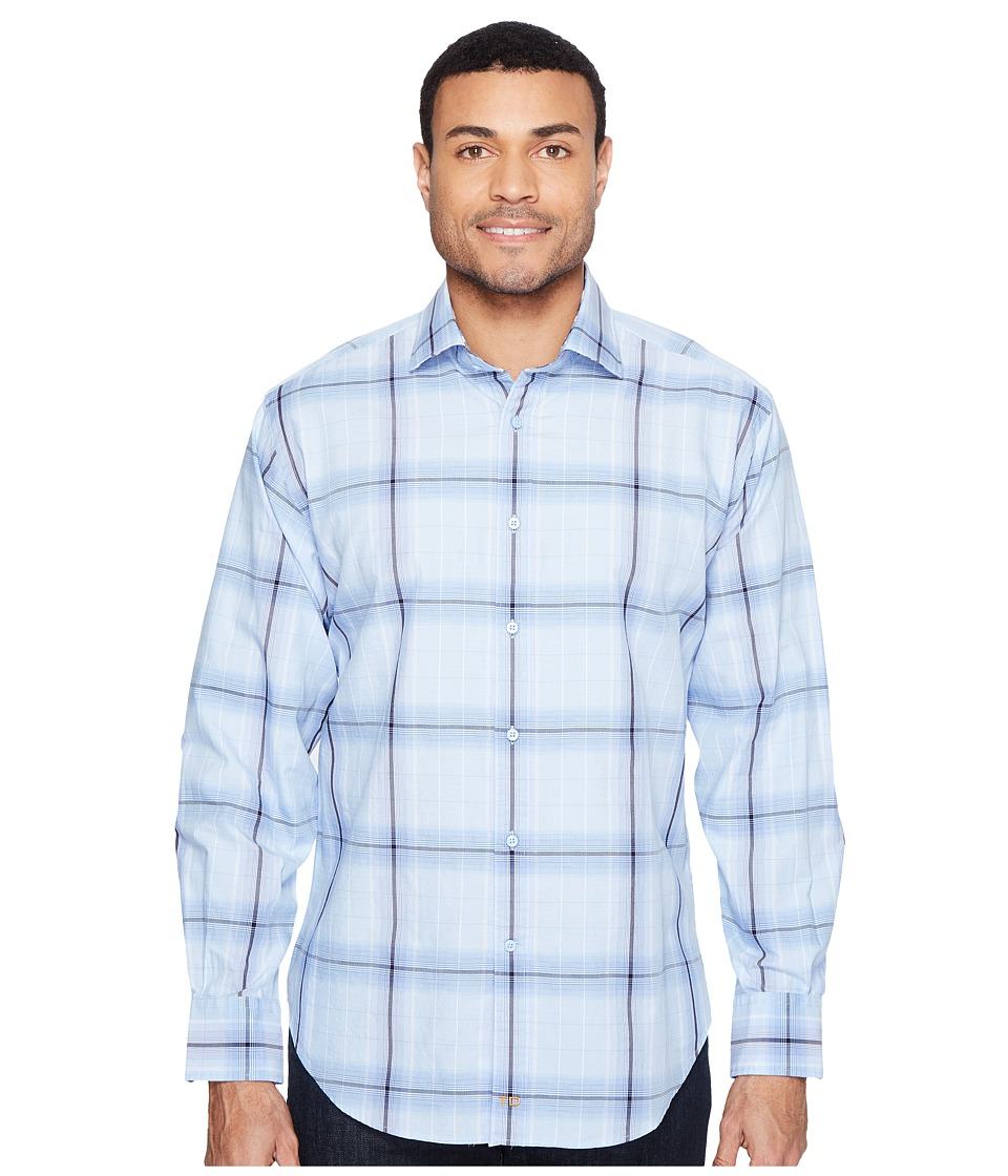 Thomas Dean & Co. - Long Sleeve Jacquard Plaid Sport Shirt (Blue) Men's Clothing