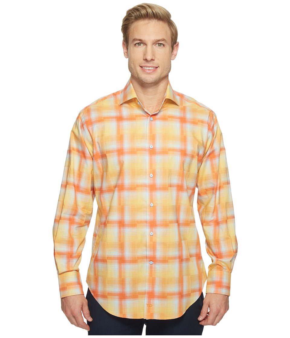 Thomas Dean & Co. - Long Sleeve Hombre Plaid Sport Shirt (Orange) Men's Clothing