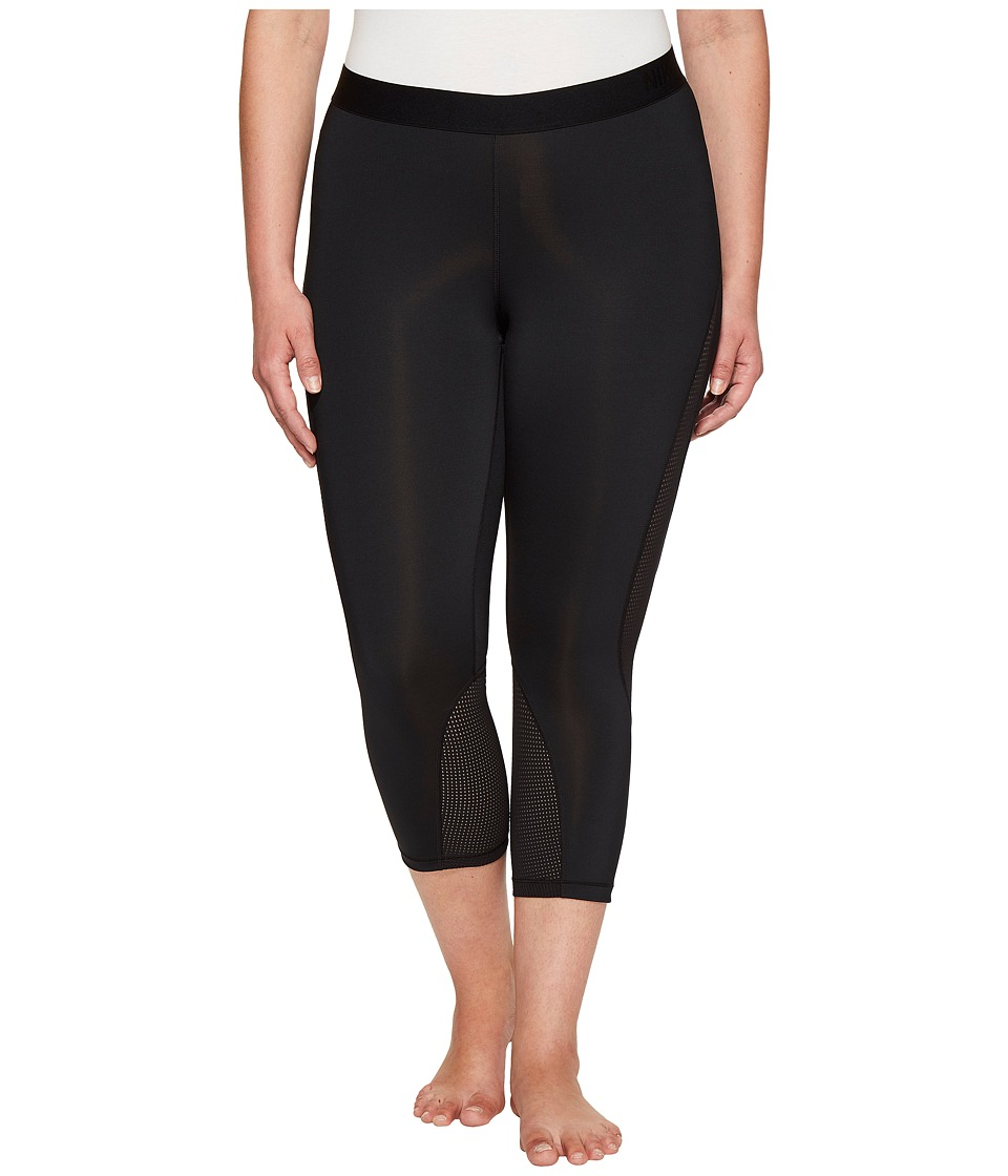 Nike Pro Hypercool Training Capri (Size 1X-3X) (Black/Pure Platinum) Women
