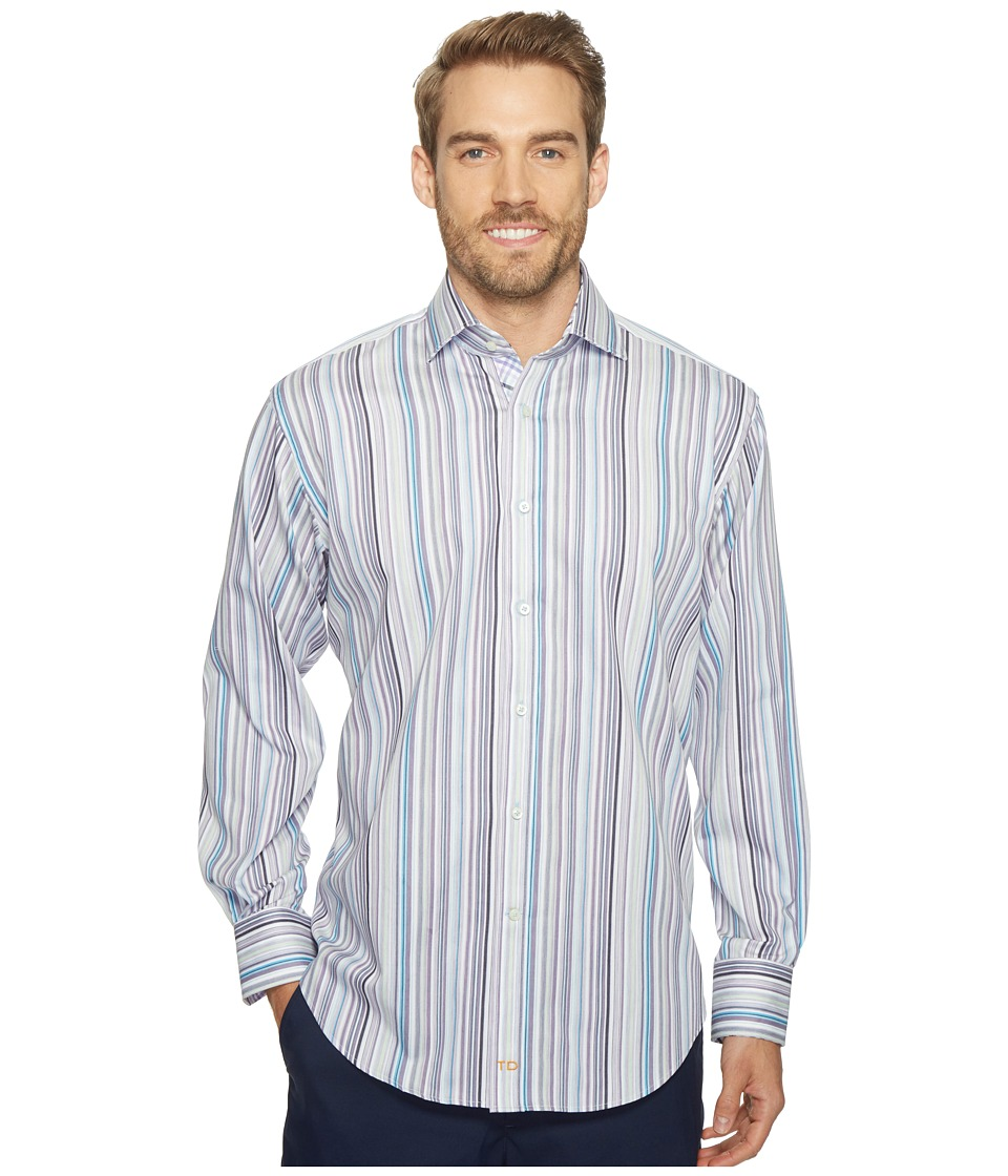 Thomas Dean & Co. - Long Sleeve Multi Stripe Sport Shirt (Purple) Men's Clothing
