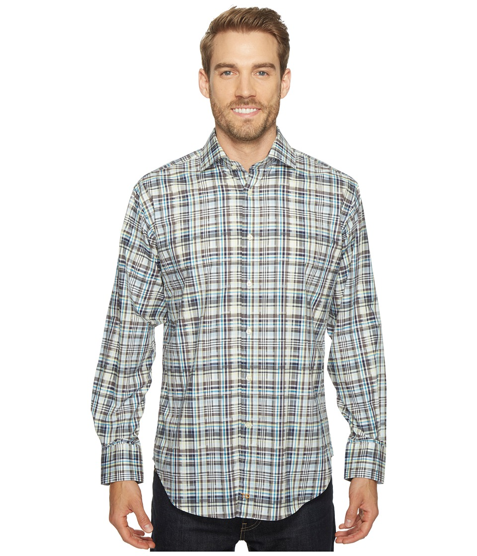 Thomas Dean & Co. - Long Sleeve Plaid Sport Shirt (Grey) Men's Clothing