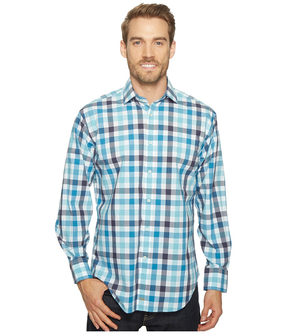 Thomas Dean & Co. - Long Sleeve Poplin Check Sport Shirt (Aqua) Men's Clothing