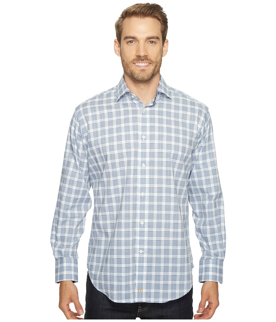 Thomas Dean & Co. - Long Sleeve Grid Plaid Sport Shirt (Navy) Men's Clothing