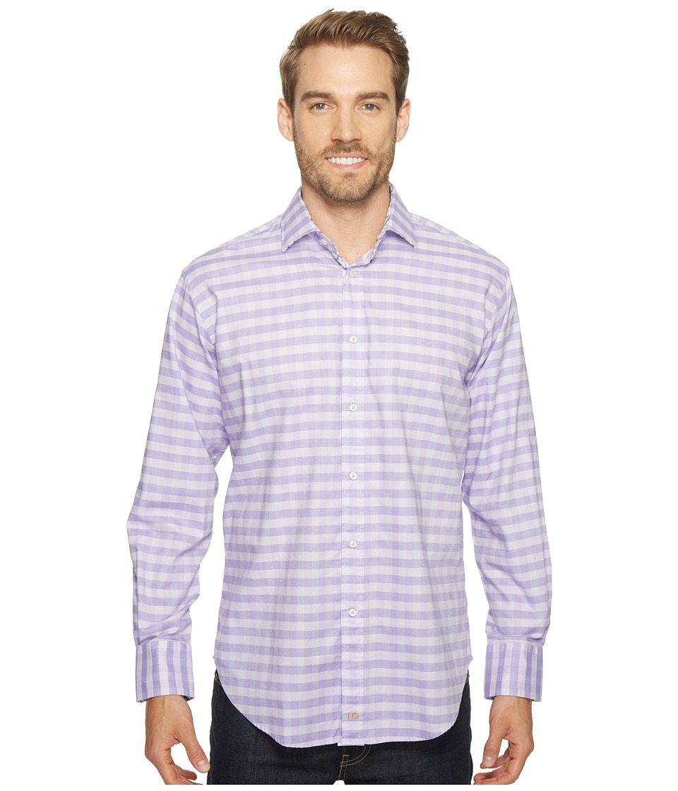 Thomas Dean & Co. - Long Sleeve Textured Check Sport Shirt (Purple) Men's Clothing
