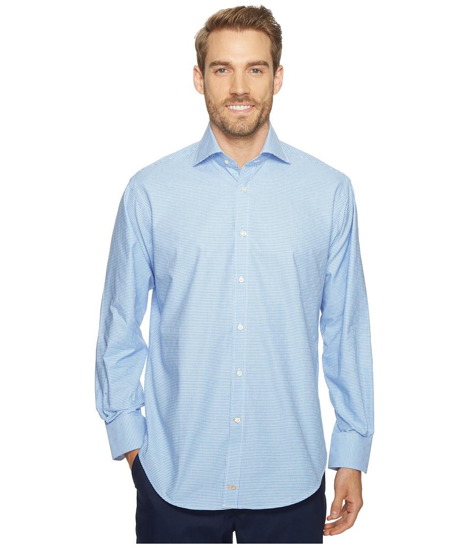 Thomas Dean & Co. - Long Sleeve Mini Check Sport Shirt (Blue) Men's Clothing