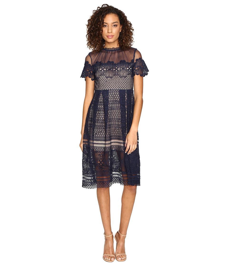 ROMEO & JULIET COUTURE - Lace Dress (Navy) Women's Dress
