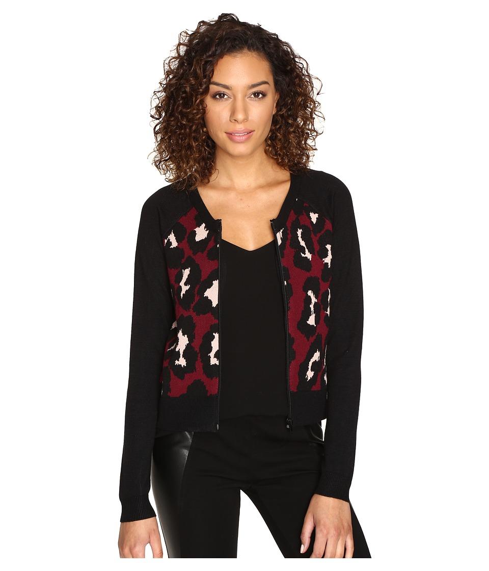 ROMEO & JULIET COUTURE - Leopard Jacket (Burgundy) Women's Coat