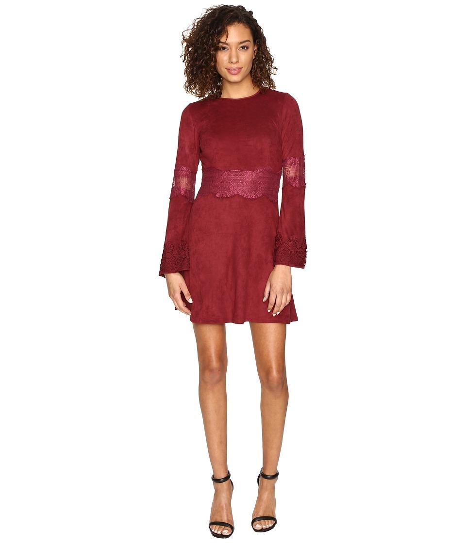 ROMEO & JULIET COUTURE - Suede Dress (Maroon) Women's Dress