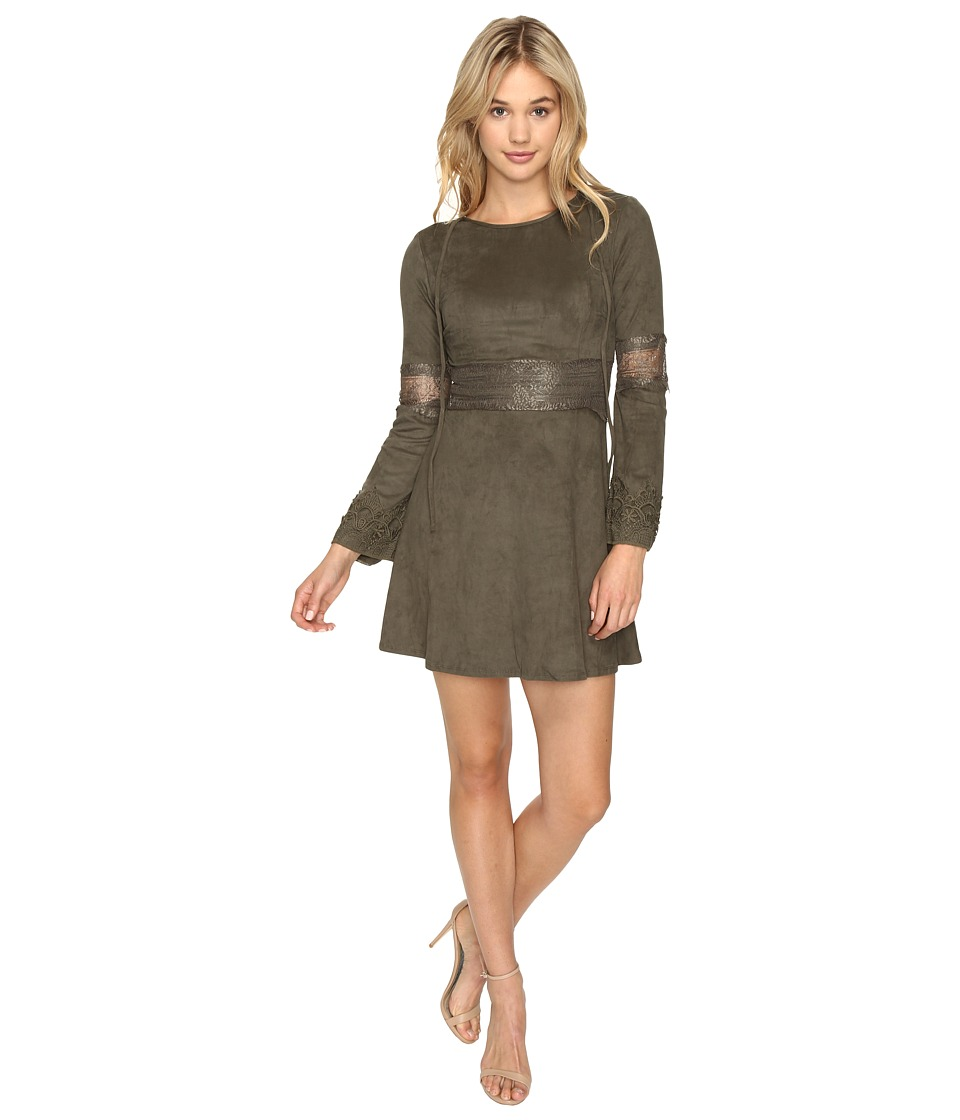 ROMEO & JULIET COUTURE - Suede Dress (Olive) Women's Dress
