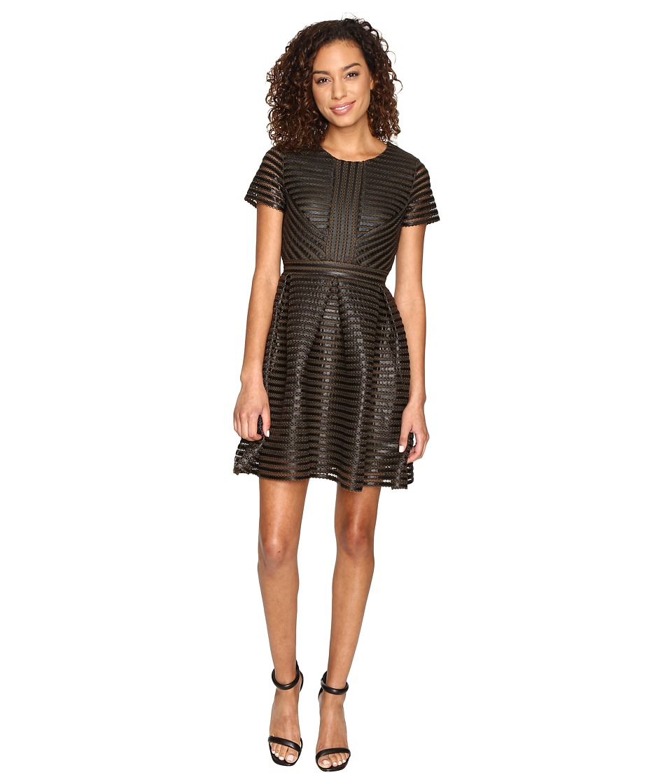 ROMEO & JULIET COUTURE - Striped Mesh Dress (Olive) Women's Dress