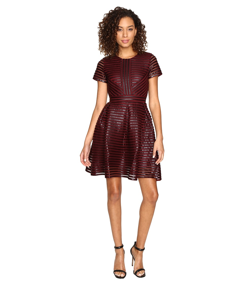 ROMEO & JULIET COUTURE - Striped Mesh Dress (Burgundy) Women's Dress