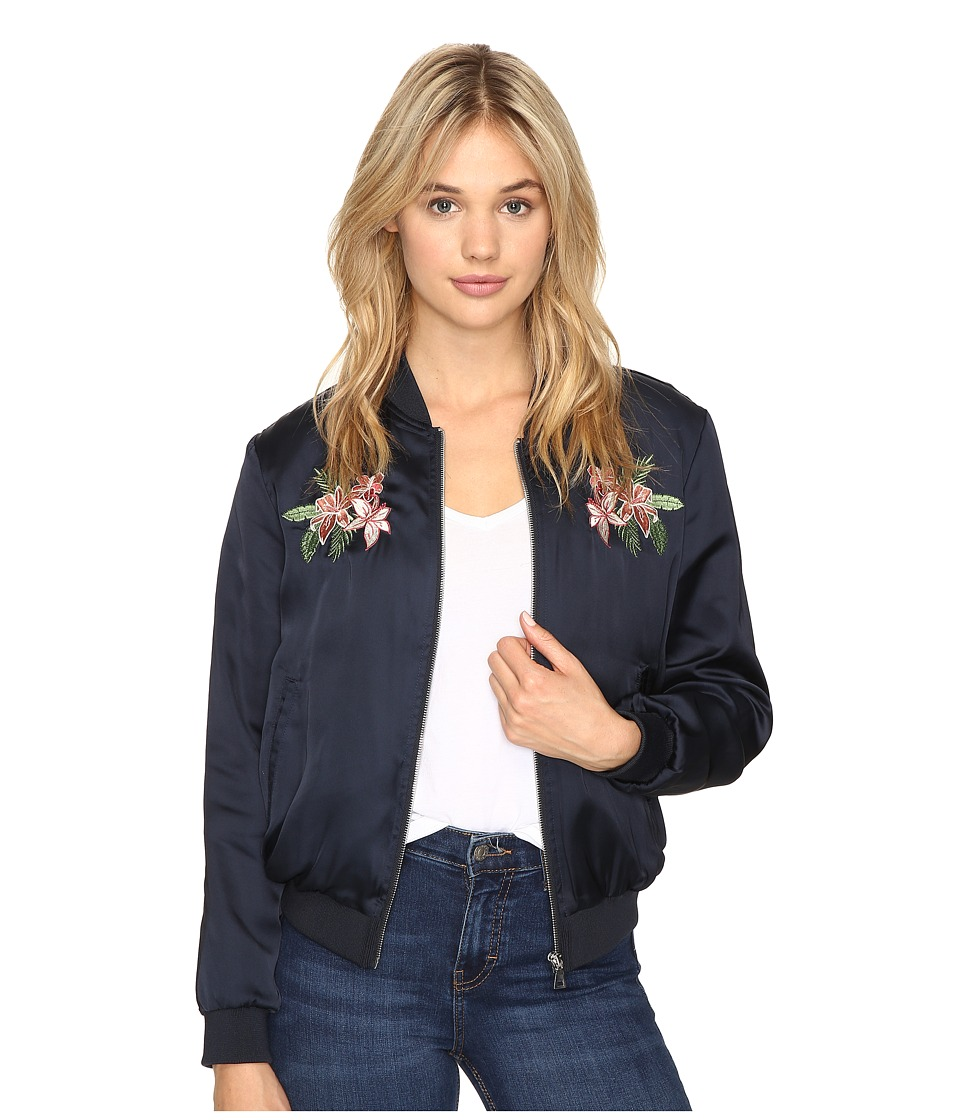 ROMEO & JULIET COUTURE - Satin Bomber Jacket (Navy) Women's Coat